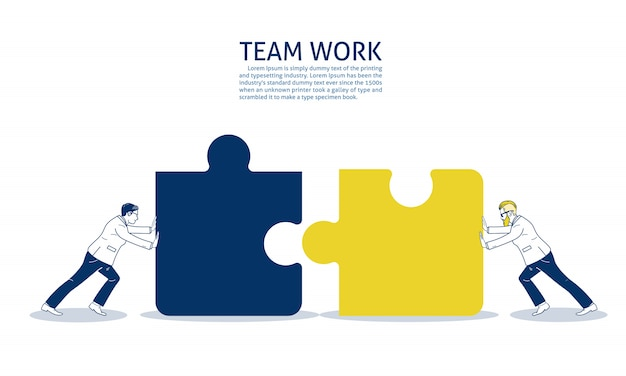 Two businessman pushing two jigsaw pieces. text template
