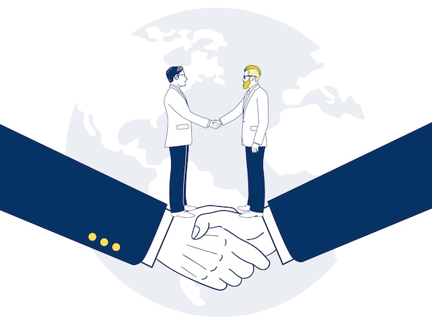 Two businessman shaking hands by agreement.