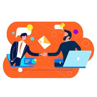 Два бизнесмена, пожимая руки от ноутбуков, виртуальная рабочая встреча, концепция видеоконференции