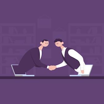 Два бизнесмена, пожимая руки онлайн-общение, виртуальная рабочая встреча, концепция видеоконференции