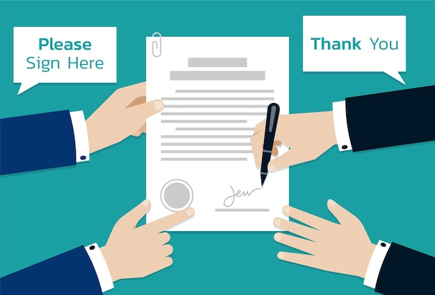 Two businessman signing on contract document paper, business concept of partnership or cooperation
