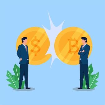 두 사업가가 돈과 비트코인 옆에 서 있다