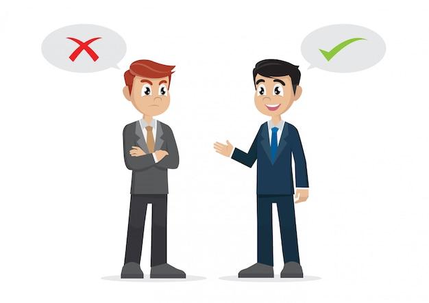 Two businessman thinking opposites