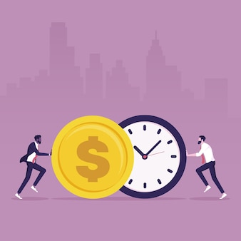 Two businessmen are pushing a watch and a coin towards each other describe time is money