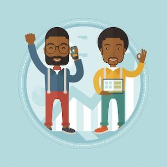 Two businessmen celebrating business success