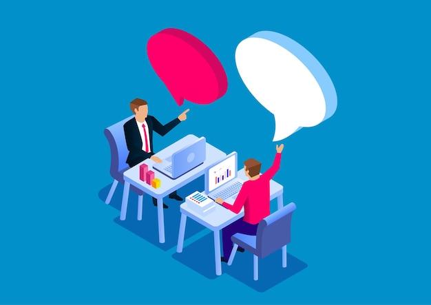 仕事でお互いに話し合う2人のビジネスマンストックイラスト
