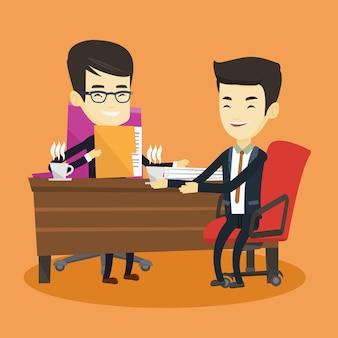 ビジネス会議中に2人のビジネスマン。