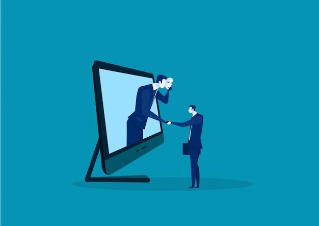 2 бизнесмена давая рукопожатие пряча в маске. деловое мошенничество и лицемерное соглашение.