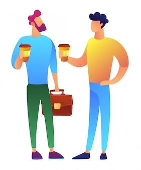 コーヒーブレークの2人のビジネスマンはベクトルイラストです。