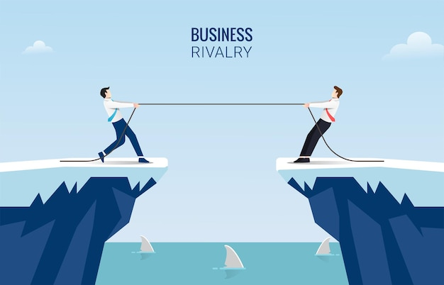 Two businessmen pull rope at edge of cliff concept. business competition challenge  illustration