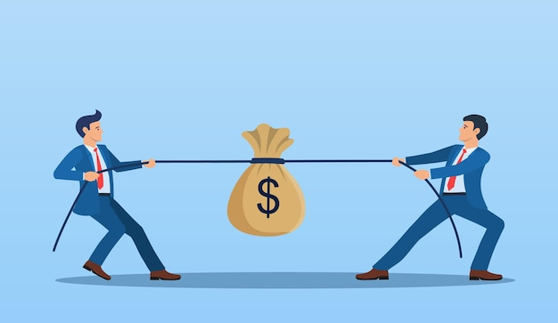 Two businessmen pulling opposite ends of rope,