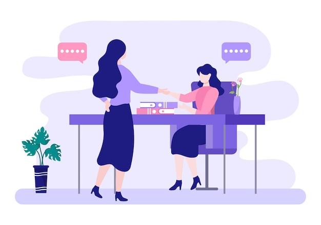 2人のビジネスマンが成功したパートナーとして協力契約を握手する取引または合意に達します。背景ベクトル図