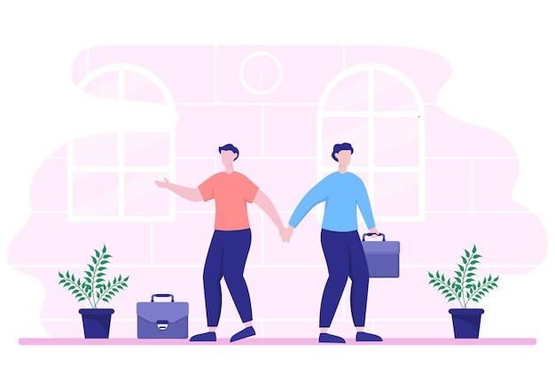 Two businessmen reach a deal or agreement shaking hands on cooperation contract as successful partners. background vector illustration