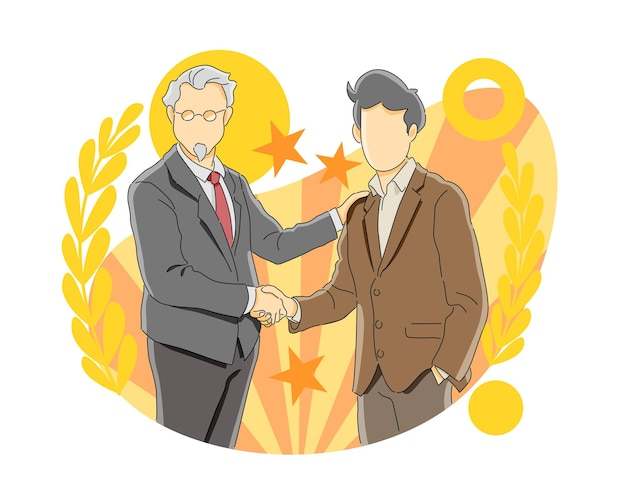 昇進を祝って握手する2人のビジネスマン
