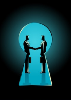 Two businessmen shaking hands seen through a keyhole