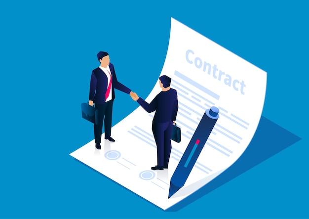 계약에 도달하고 성공적으로 계약에 서명하기 위해 악수하는 두 사업가