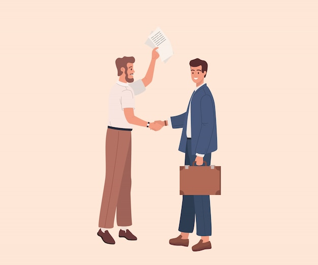 Two businessmen shaking hands. vector illustration flat cartoon graphic design. businessmen conclude a contract or agreement