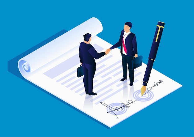2人のビジネスマンがプロジェクトイラストストックイラストに署名することに成功しました
