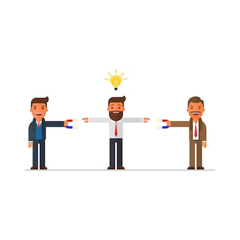 Two businessmen want a person with an idea
