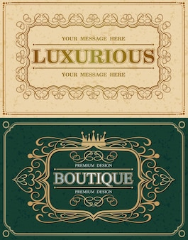 Two calligraphic graceful and luxurious frames, retro vintage monogram design elements, flourish calligraphy monogram, vector illustration