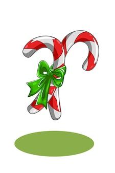 緑のリボンのイラストと2つのキャンディークリスマス