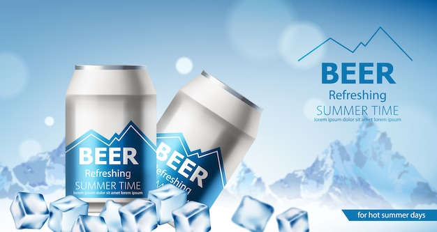 Two cans with refreshing beer submerged in ice cubes