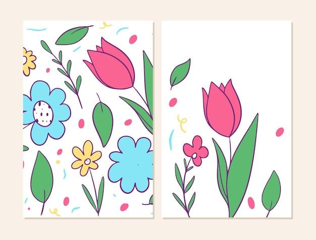 花のカード2枚。漫画のスタイル。