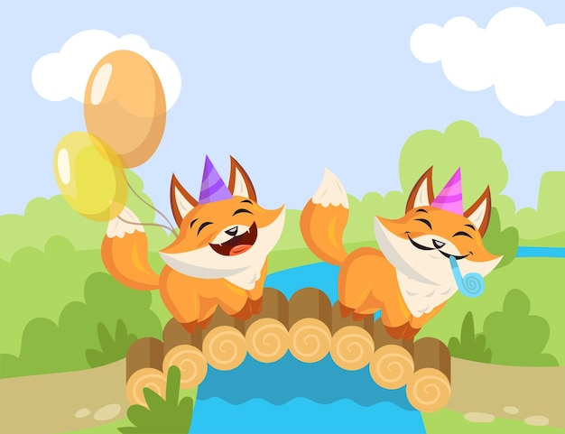 Two cartoon birthday foxes standing on bridge. flat  illustration. happy little foxes with birthday hats, whistle blowers, colorful balloons party concept.