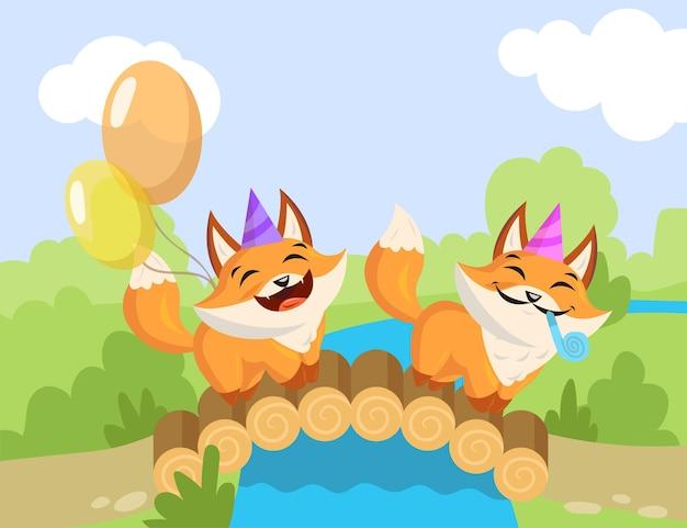 橋の上に立っている2つの漫画の誕生日キツネ。フラットなイラスト。誕生日の帽子、内部告発者、カラフルな風船パーティーのコンセプトを持つ幸せな小さなキツネ。