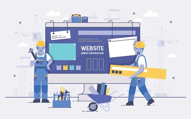 Два строителя мультфильмов держат и несут инструменты для ремонта на экране компьютера на фоне. концепция веб-сайта в стадии строительства, обслуживания веб-страницы или ошибки 404. красочные векторные иллюстрации.