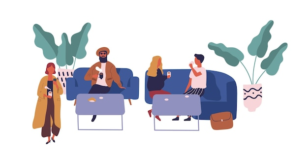 Two cartoon couple drinking coffee sit at table on food court isolated on white. colorful people relax on couch with food and drink vector flat illustration. male and female spending time together.