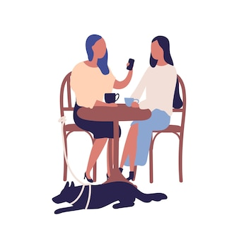 Two cartoon girl friend sit at table in cafe talk use smartphone together vector flat illustration. gossiping female drinking coffee enjoy conversation isolated on white background. dog and owner.