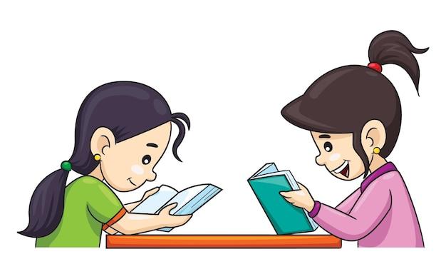 얼굴을 맞대고 책을 읽는 두 명의 만화 소녀