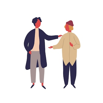 Two cartoon hipster male enjoying friendly conversation vector flat illustration. colorful man friend talking together isolated on white. modern people character communication during friendship.