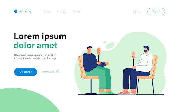Two cartoon men taking off their masks, becoming sincere landing page template