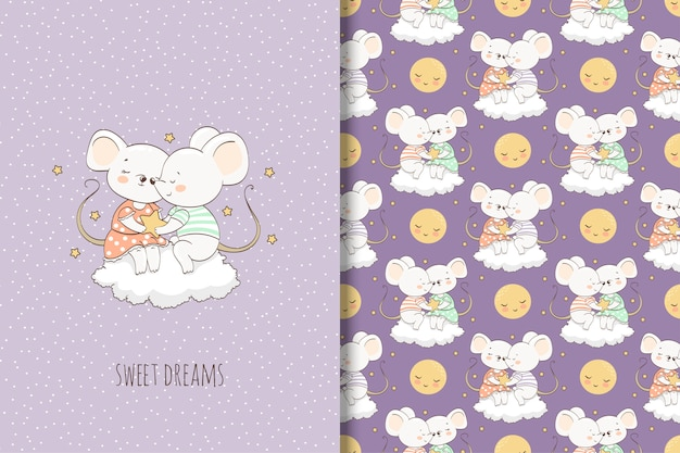 Two cartoon mouse on the cloud illustration. card and seamless pattern