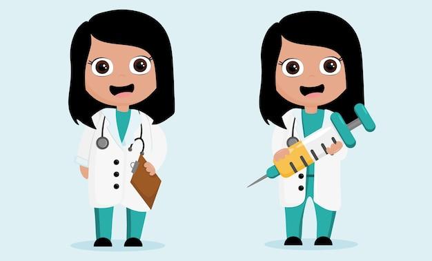 注射器を持つ2人の漫画の看護師