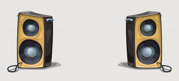 Two cartoon speakers on wide background