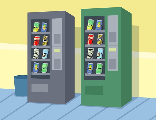 Два мультяшных торговых автомата с разными напитками. плоский рисунок. два красочных автоматических автомата по продаже напитков, стоящие у стены.