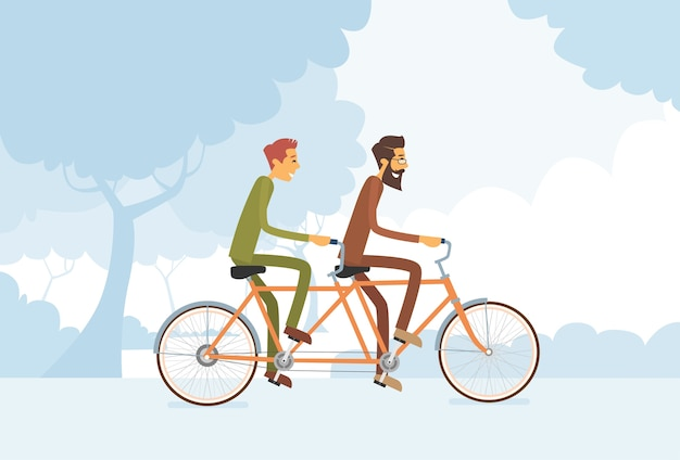 Two casual man riding tandem bicycle