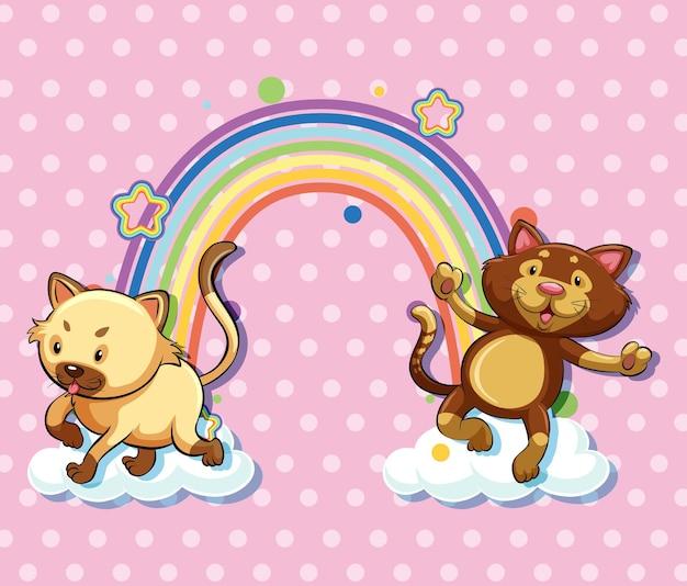 Due gatti sulla nuvola con arcobaleno su sfondo rosa a pois