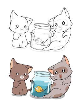 Two cats and little fish cartoon coloring page