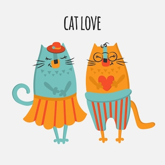 Two cats valentine day love hand drawn flat design cartoon cute animal  illustration