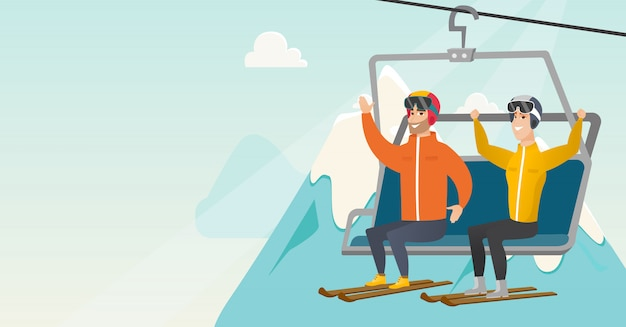 Two caucasian skiers using cableway at ski resort