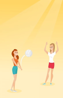Two caucasian women playing beach volleyball