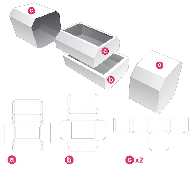 Two chamfered drawers and chamfered cover die cut template