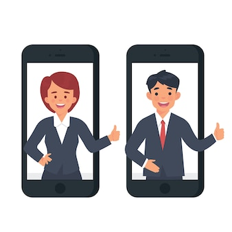 Two character businessman and woman say ok from smartphone