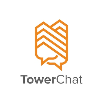 Two chat bubble with tower outline simple sleek creative geometric modern logo design