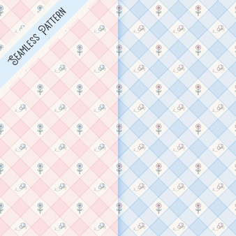 Two checkered butterflies and flowers seamless patterns set