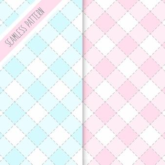 체크 무늬 핑크와 블루 원활한 패턴 2 개 세트